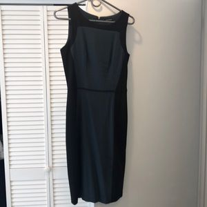 Club Monaco shift dress, emerald and black